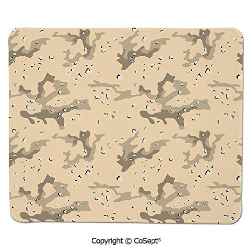 Non-Slip Rubber Base Mousepad,US Armed Forces Background Hiding in The Desert Theme Design,Water-Resistant,Non-Slip Base,Ideal for Gaming (7.87