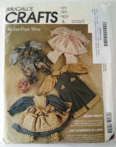McCall's Crafts Bunny Wraps, Clothes for Country Rabbit Dolls Sewing Pattern (Rabbit Doll Pattern)