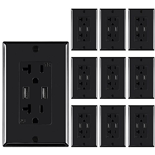 Wall electrical outlet with 5V/4.8A Dual High Speed USB charger,20A Tamper-Resistant receptacle outlet Black color ()