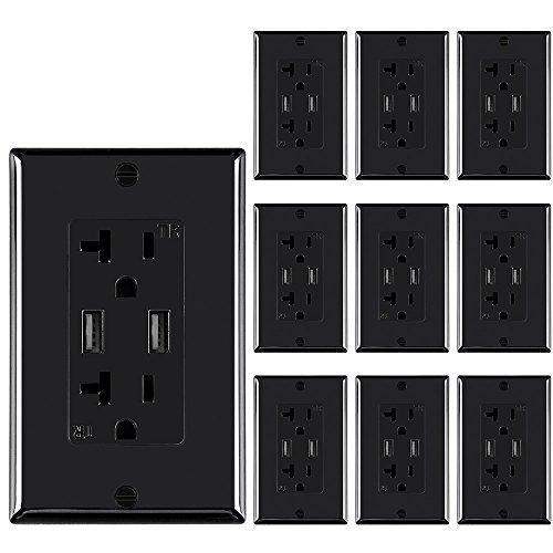 Toma de corriente eléctrica de pared con cargador USB de alta velocidad dual 5 V/4,8 A, 20 A, salida de receptor resistente...