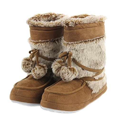 Home Slipper Women's Girl's Fashionable Warm Winter Long Fur Soft Sole Lace Pom Poms Indoor House Boots Slippers,US 11/12