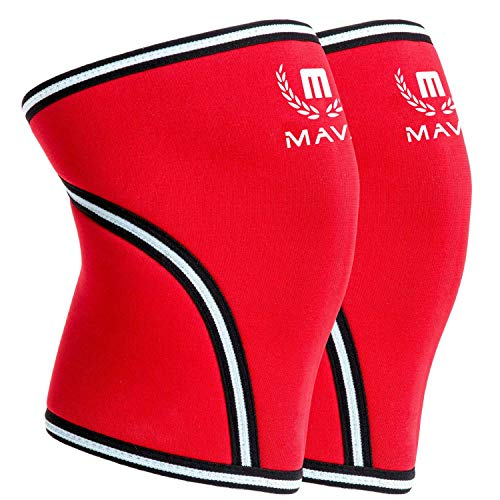 Mava Sports Pair of Knee Compression Sleeves Neoprene 7mm for Men & Women for Cross Training WOD, Squats, Gym Workout, Powerlifting, Weightlifting (Red, Large) (Best Crossfit Shoes For Bad Knees)