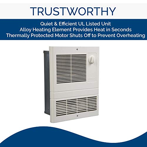 Broan Wall Heater, White Grille Heater with Built-In Adjustable Thermostat, 1500W, 120/240V