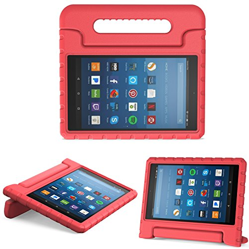 MoKo Case for All-New Amazon Fire HD 8 Tablet (6th/7th/8th Generation, 2016/2017/2018 Release) Kids Shock Proof Convertible Handle Light Weight Protective Stand Cover Case for Fire HD 8,RED ()