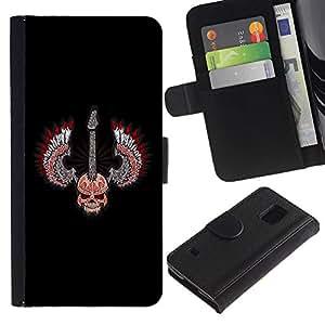 SAMSUNG Galaxy S5 V / i9600 / SM-G900 , la tarjeta de Crédito Slots PU Funda de cuero Monedero caso cubierta de piel ( Skull Wings Guitar Rock Heavy Metal Music)