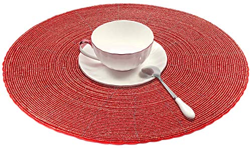 - SKAVIJ Glass Beads Placemat Pack of 2 for Dining Table Handmade (Dia-12 Inch, Red)