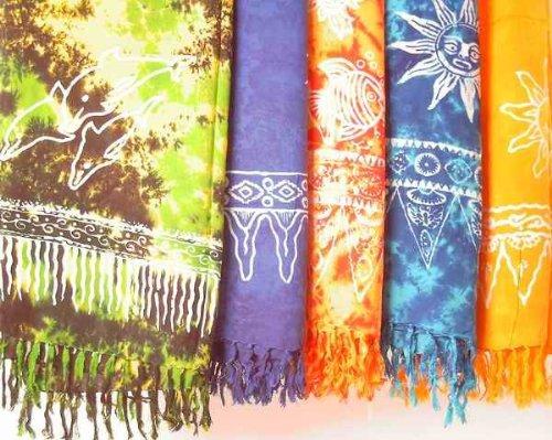 Sarong STAMPBATIK, Pareo, Hüfttuch, Wickel-Rock, Strandtuch verschiedene Farben, Farbe: türkis