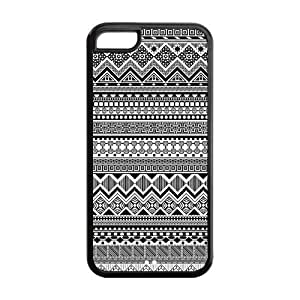 Black and White Aztec Tribal Patterned Protective Rubber Back Fits Cover Case for iPhone 5C