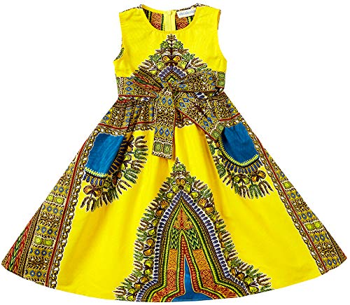 Shenbolen Girls Dashiki Print Dress African Tradition Dresses(B,XX-Large)