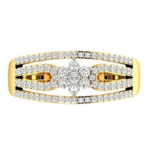 Or jaune 18K 0,44CT TW Round-cut-diamond (IJ   SI) en diamant