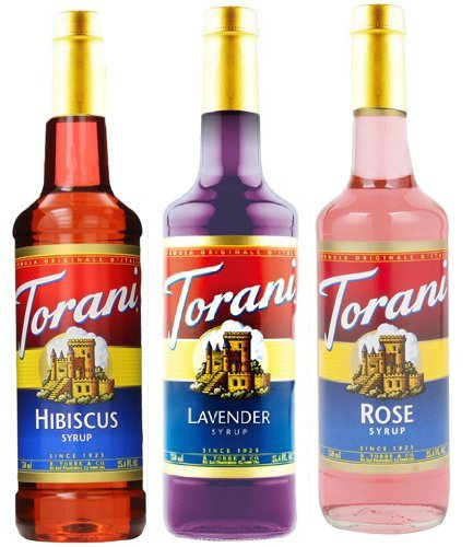 Torani Cocktails, Mocktails & Teas Syrups 3 Pack, 25.4oz each of Lavender, Hibiscus and Rose Syrups