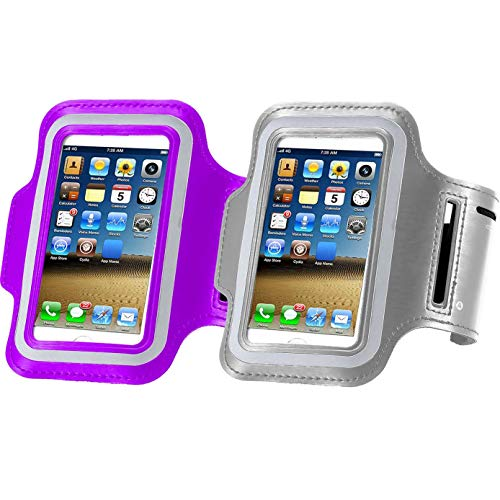 2pack Running Armband for iPhone X XS MAX XR /8 Plus/8/7 Plus/7/6S Plus/6S/6/5S/SE,180 Rotatable Sports Workout Cell Phone Holder for Samsung Galaxy S8/S7 Edge/S6, Google Pixel/Nexus 6P Purple+Silver