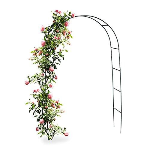 Relaxdays Arche à rosiers en métal hauteur env. 2,00 m résistante aux intempéries jardin tuteur pour plantes arche pour plantes grimpantes arceau de jardin en métal 240 x 140 cm, vert