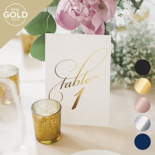 Gold Wedding Table Numbers (Assorted Color Options Available), Double Sided 4x6 Calligraphy Design, Numbers 1-40 & Head Table Card Included — from Bliss Paper Boutique