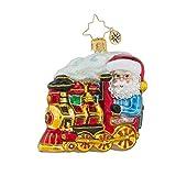 Radko North Pole Express Gem Santa on Train Glass Ornament Christmas