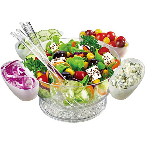 Jumbl Serve Chilled Bowl Set | Floating Salad Cups | Serving Spoon & Fork