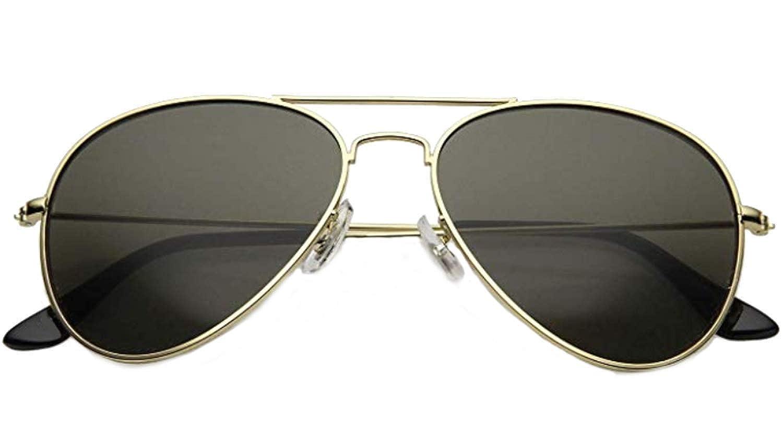 EVRYLON Gafas de sol en forma de lágrima para hombres con lentes de aviador negro y montura de metal dorado