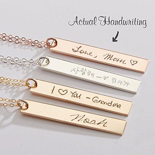Custom Handwriting Necklace-Actual Handwriting Bar-Personalized Memorial Signature-Kids Handwritten Note-Reversible -Gold-Rose-Silver-CG247N