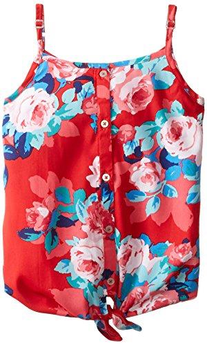 Jessica Simpson Big Girls' Tilda Blossom Tie Front Tank, Red, Medium