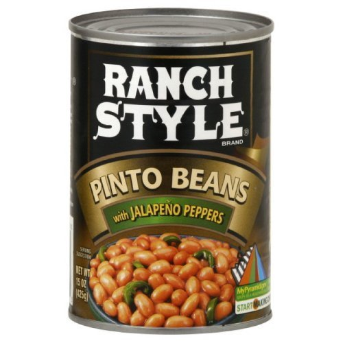 Ranch Style Pinto Beans with Jalapenos 15oz Can (Pack of 6)