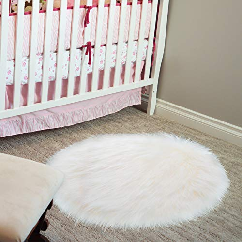 20 x 20 inch Round Fluffy Rug Faux Fur Round Rug Shaggy Floor Area Carpet for Living Bedroom Sofa Supplies (Fur Faux Small Rug)