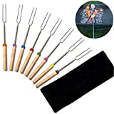 WXLAA BBQ Roasting Sticks Stainless Steel Wooden Handle Telescopic Barbecue Fork 8 Color