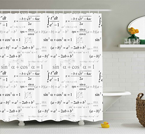 Kids Decor Shower Curtain by Ambesonne, School for Math and Geometry with Science Formules Chalk Board Style Image, Fabric Bathroom Decor Set with Hooks, 75 Inches Long, Black and White