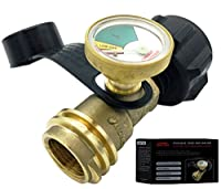 Premium Gauge Master Propane Tank Gas Meter - Cylinder Gas Level Indicator Adapter - Suitable For All BBQ Grill, RV Camper & Appliances - Type 1 Connection - Includes Cover Cap & Leak Detector