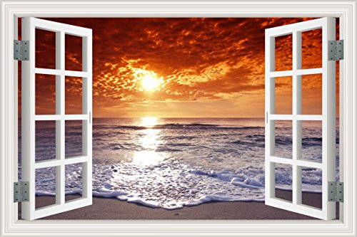 3D Fake Window Sunset Ocean Beach Wall Sticker Vinyl Mural Decal (Sunset Ocean)