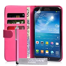 Samsung Galaxy Mega 6.3 Case Hot Pink PU Leather Wallet Cover With Stylus Pen