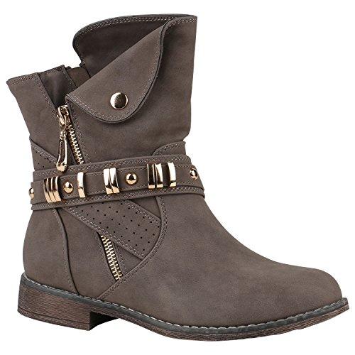 Stiefelparadies Damen Schlupfstiefel Wildleder-Optik Stiefel Schnallen Schuhe Boots Gefütterte Stiefeletten Flandell Taupe Nieten