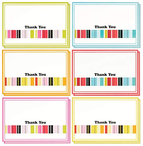 Thank You Cards - 48-Count Thank You Notes, Bulk Thank You Cards Set - Blank on the Inside, Colorful Stripe Designs - Includes Thank You Cards and Envelopes, 4 x 6 Inches