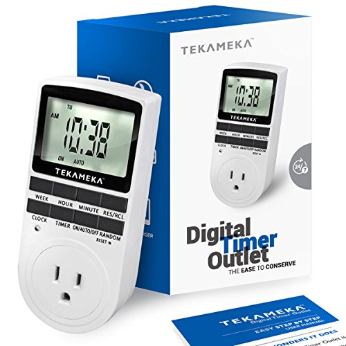 Digital Plug In Timer - Tekameka Digital Timer Outlet 7-Day Programmable Setting Plug-in with 3-Prong Switch 15A/1800W