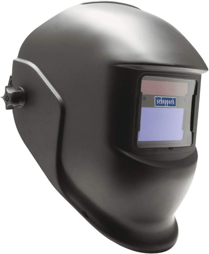 SCHEPPACH AWH380 campo visivo: 92 x 42 mm tempo di commutazione: da chiaro a scuro:  0,7 ms scuro a chiaro: 0,15 ~ 0,50 s Casco di saldatura automatico con protezione da saldatura