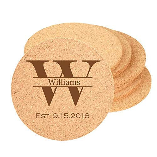 Cork Coaster 4 inch Round Personalized Custom Laser Engraved including Choices of Design, Name, Date, Your Design and Bulk Quantities