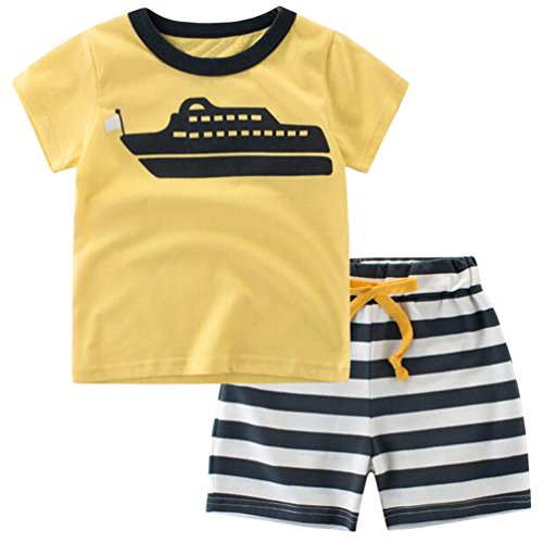 Csbks Kids Boys Summer Outfits Short Sleeve T-Shirt & Shorts Sets 1-6 Toddler 4T Ship ()