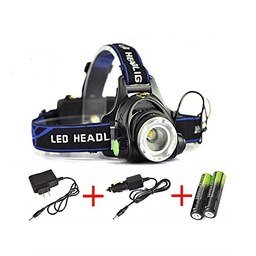 Super Bright LED Focus Headlamp Zoomable with 2x18650 Rechargeable Batteries and Wall Charger