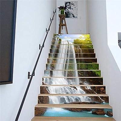skwff 3D Pegatinas de escalera Impermeable pegatina de pared decorativo para cuartos Cascada de agua corriente escaleras diy simples sala de estar centro: Amazon.es: Bricolaje y herramientas