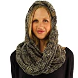 CC Quad Soft Chunky Warm Pullover Knit Long Infinity Hood Cowl Loop Scarf Taupe