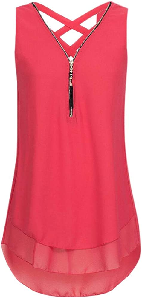Lookatool Tank Top T Shirts Tops Loose Sleeveless Cross Back Hem Layed Zipper V-Neck