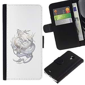 Be-Star la tarjeta de Crédito Slots PU Funda de cuero Monedero caso cubierta de piel Para Samsung Galaxy S4 Mini i9190 (NOT S4) ( Dragon Silver Flying Mythical Creature Nature )