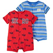 Carter's Baby Boys' 2-Pack Snap Up Romper, Hero/Dog, 6 Months