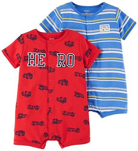 Carter's Baby Boys' 2-Pack Snap-up Romper, Hero/Dog, 12 Months Boys 2 Piece Romper