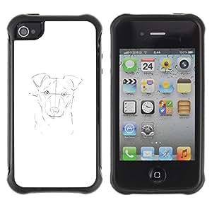 LASTONE PHONE CASE / Suave Silicona Caso Carcasa de Caucho Funda para Apple Iphone 4 / 4S / dog painting white pencil sketch drawing