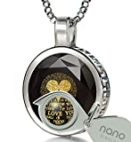 925 Sterling Silver I Love You Necklace 120 Languages 24k Inscribed Black Cubic Zirconia Pendant, 18''