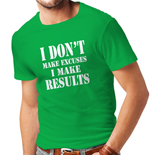 (T Shirts for Men I Make Results - Lose Weight Fast Quotes and Muscle Builder Motivational Sayings (Small Green White) )