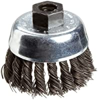 Weiler Vortex Pro Wire Cup Brush, Threaded Hole, Carbon Steel, Partial Twist Knotted