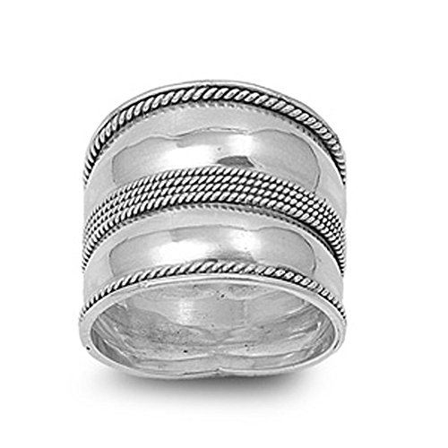 Bali Band Ring (Sterling Silver Women's Bali Rope Ring Wide 925 Band Milgrain Fashion Size 10)