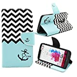 G3 Case, Jenny Shop Fashion Style PU Leather Stand Feather with 2 Built-in Card Slots, Money Pocket Flip Cover Magnetic Closure Cover Case ONLY for LG G3 5.5 Inch Screen Smartphone (Wave Anchor Love)