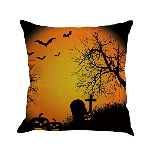 - CUCUHAM Happy Halloween Pillow Cases Linen Sofa Cushion Cover Home Decor B